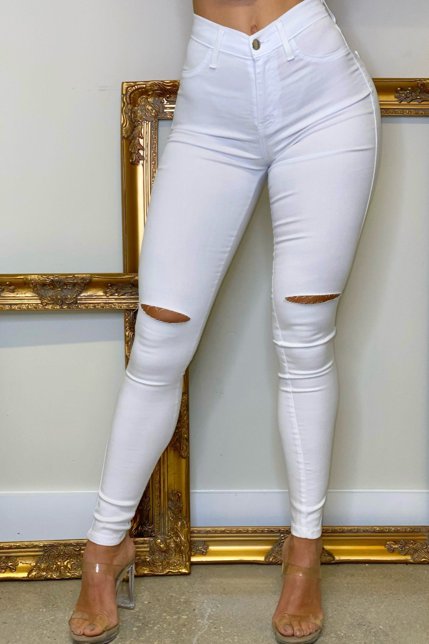 ZOE JEANS - WHITE Lotus Couture Miami