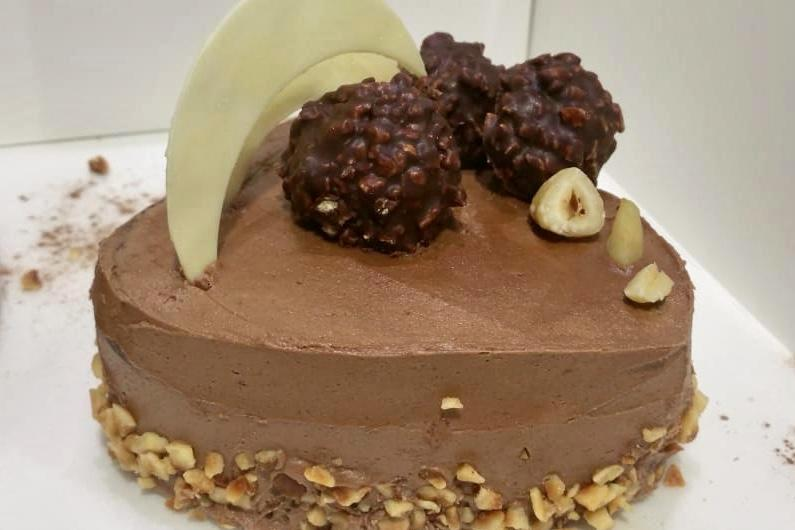Chocolate with hazelnuts and Rocher Heart shaped Cake