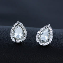 925 Silver Plated Stud Pear Earrings