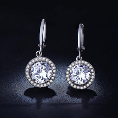 Classic Design Sliver Color Cubic Zirconia Crystal French Clip Earrings