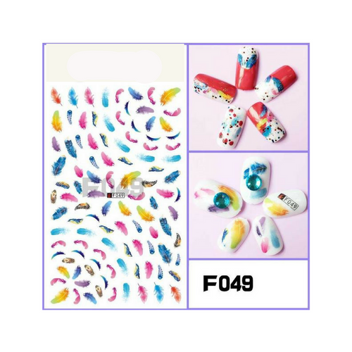 1 Sheet Dream Catcher Colourful 3D Feather Windmill Design Nail Art Sticker