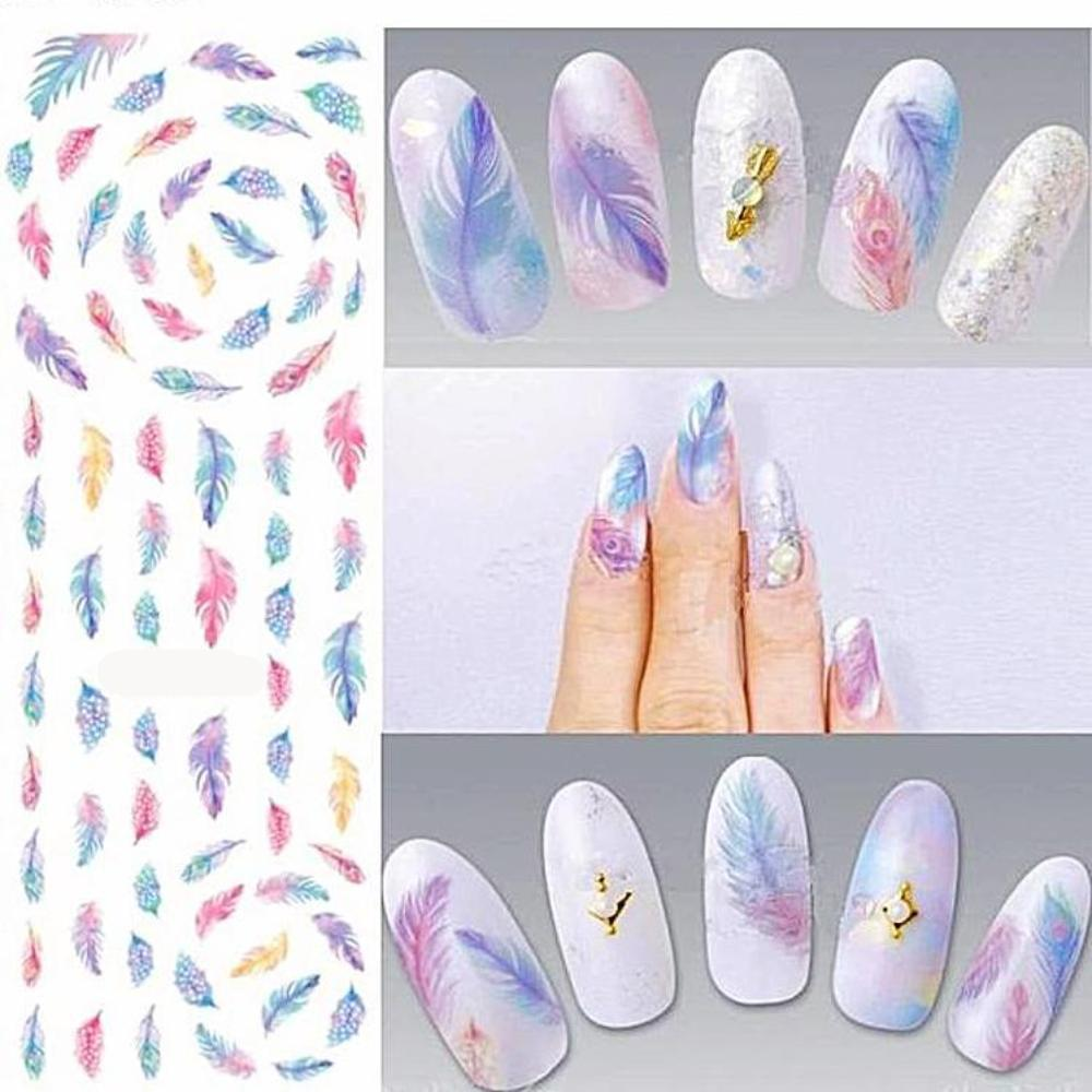 1 Sheet With Colorful Gradient Feather Nail Art Water Decal Nail Transfer Stickers