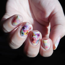 1 Sheet Gradient Nail Art Water Decals Transfer Stickers In Colorful Fantasy Flowers