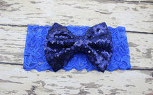 Childrens Big Sequined Bow with Lace Headband Hair Accessory