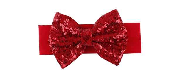 Baby Girls Cotton Elasticated Headband With Sequins  & Bow Children Hair Accessory