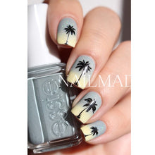 Black Coconut Palm Tree Sunset Nail Art Water Decals/Transfer Stickers