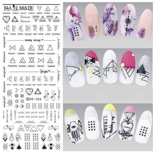 1 Sheet Geometric Shapes Water Decal Nail Art Transfer Nail Stickers