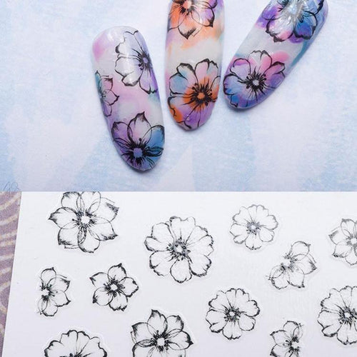 1 Sheet 3D Watercolor Fading Flower Decals Nail Art Stickers