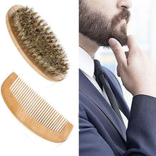 Boar Bristle Beard Brush With Handmade Wooden Beard & Comb Kit for Men's Beards & Moustaches