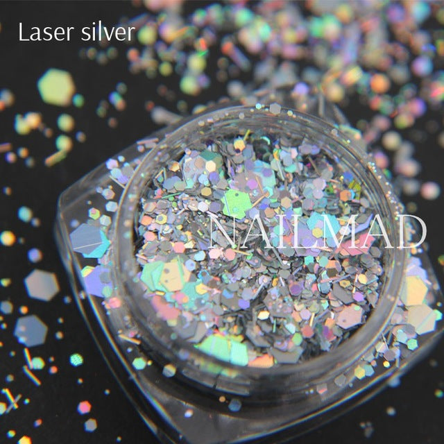 Nail Art Glitter Mix Hexagon Acrylic Glitter Nail Sequins With Holographic Nail Art Decorations