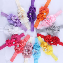 Childrens Flower Elasticated Headband Hair Accessory With Diamond & Rose Chiffon Flower