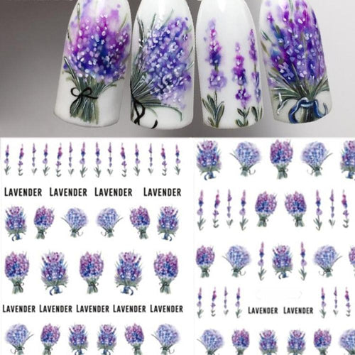 1 Sheet Blooming Purple Lavender Flower Water Decals Nail Art Transfer Decals Nail Art