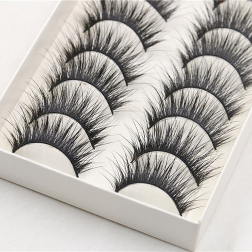 A 10 Pair Pack Of Long, Thick, Black Party False Eyelashes