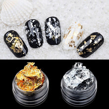 Gold & Silver Irregular Aluminum Foil Nail Art Stickers In 3D Glitter