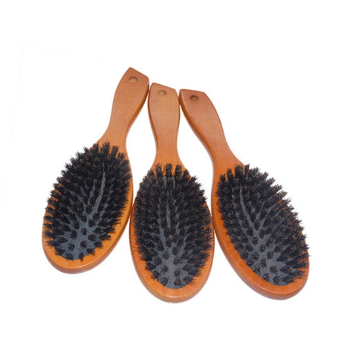 Natural Boar Bristle Anti-static Paddle Massage Hairbrush With Beech Wood Handle