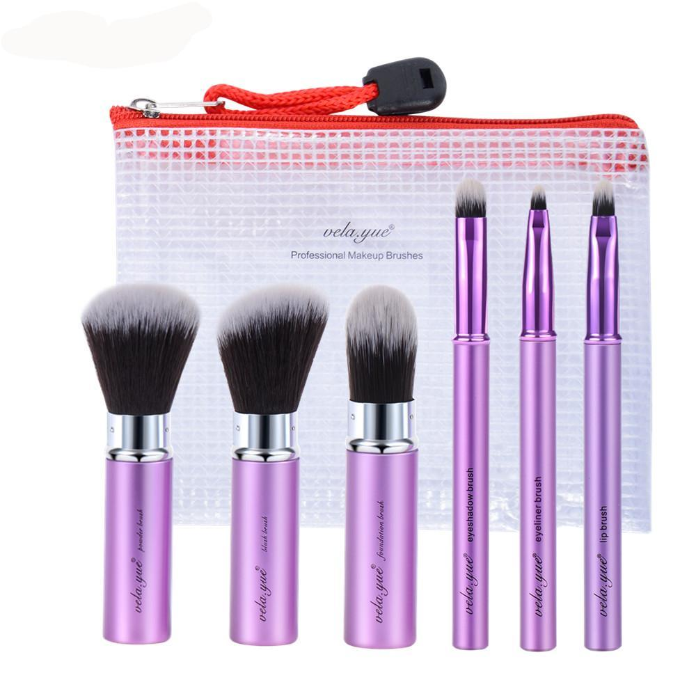 Retractable 6 Piece Travel Makeup Brush Set Beauty Tool Kit with Cover and Case