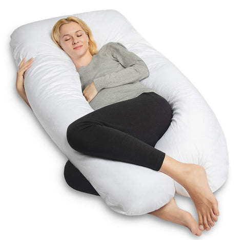 U Shaped Full body Side Sleeper Back Support Pillow Cool Plush Comfortable With Removable Cover in Blue and White Color