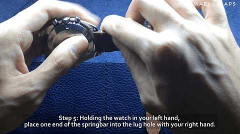 Fixing on new watch strap - insert watch strap into pinhole