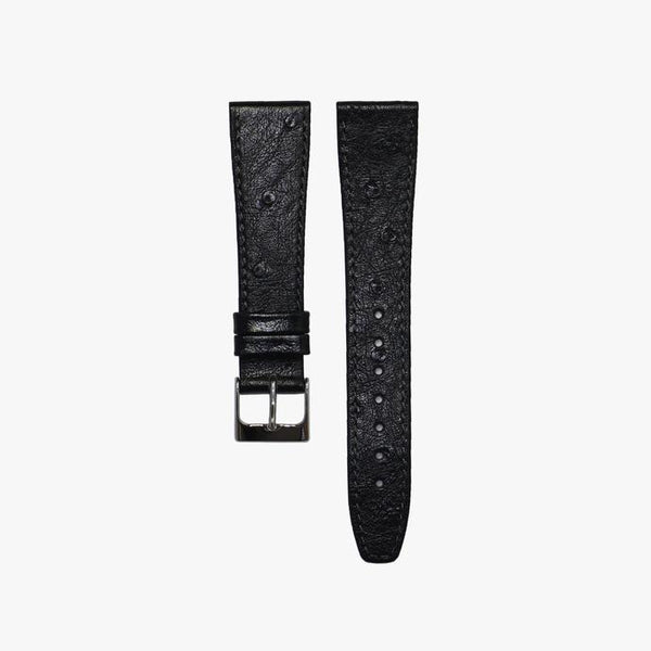 Charcoal Black Ostrich Leather Watch Strap