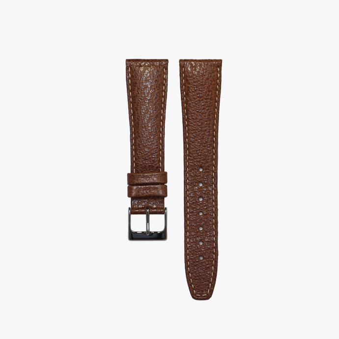 Chocolate Pebbled Stitched Calf Leather Strap
