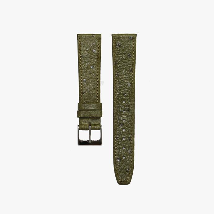 Olive Green Ostrich Leather Watch Strap