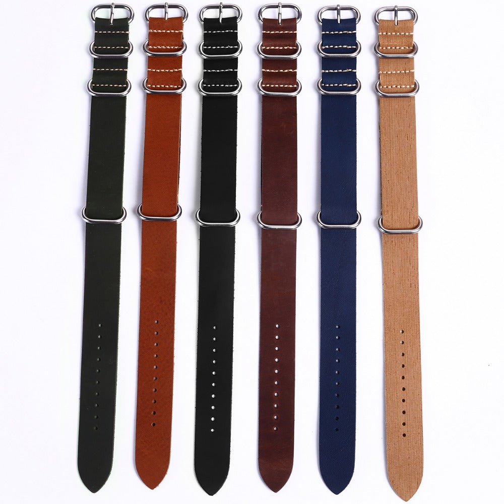 Green 3 Ring Vintage Leather ZULU Strap