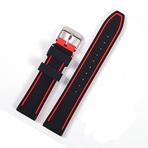 Red Silicone Waterproof Watch Band