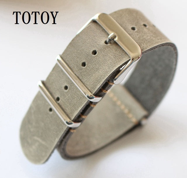 Grey Distressed Leather One Piece NATO
