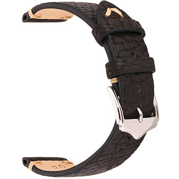 Black Cracked Leather Watch Band