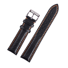 Orange Stitch Black Classic Leather Watch Band