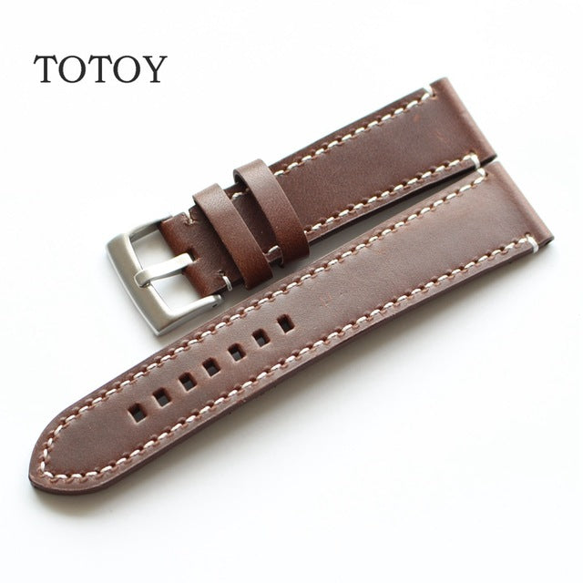 Brown Contrast Stitch Thick Leather Watch Strap