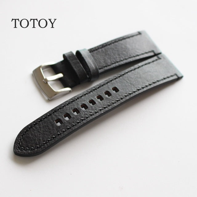 Black Thick Leather Watch Strap