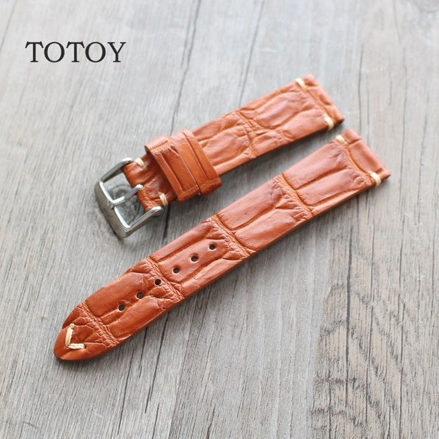 Vintage Tan Bamboo Alligator Watch Strap