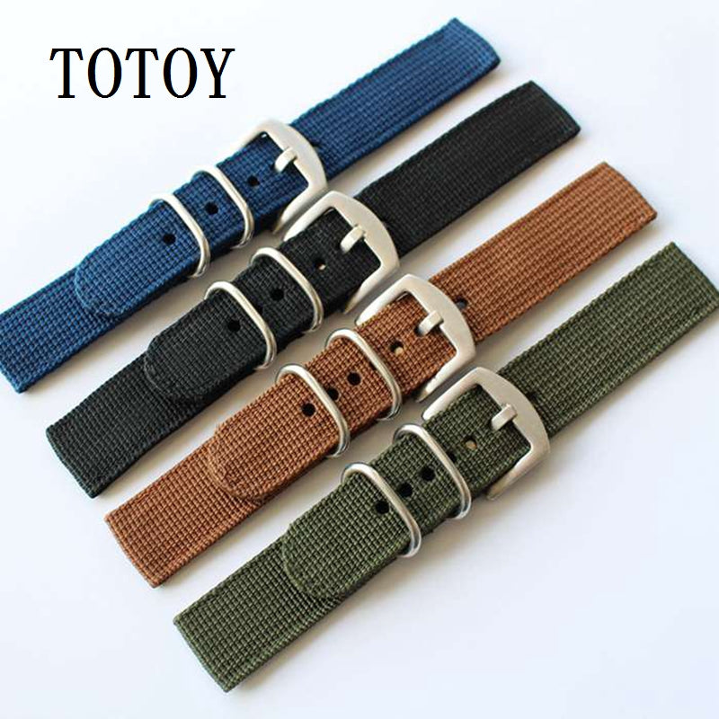 Military Green Two Piece Fabric Watch Strap