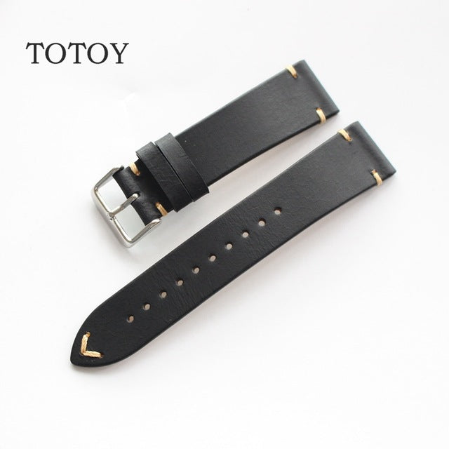 Black Cordovan Leather Watch Band