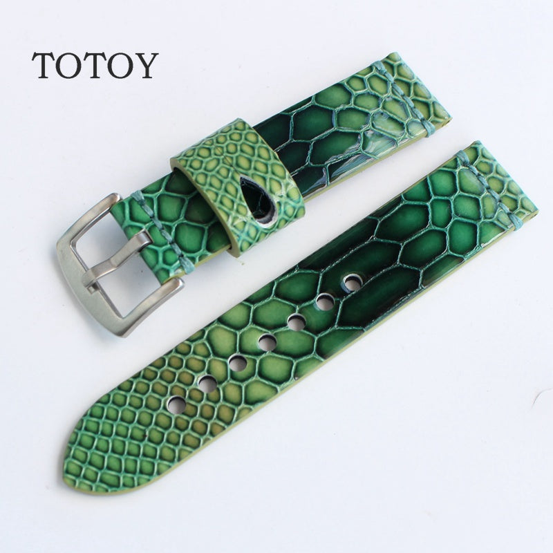 Green Python Rubber Skin Diver Watch Strap