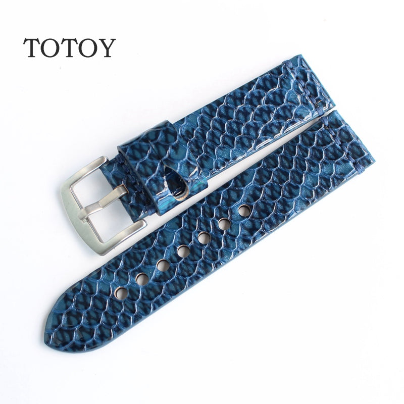 Blue Fish Rubber Skin Diver Watch Strap