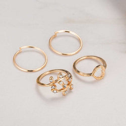 4 Set Rings Urban Gold Plated Crystal