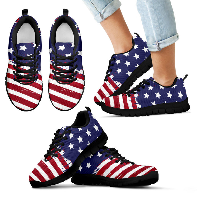 PATRIOTS HAND CRAFTED & CUSTOM PRINTED AMERICAN FLAG SNEAKERS FOR KIDS