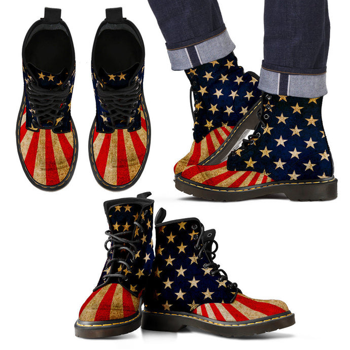 MENS HAND CRAFTED & CUSTOM PRINTED BOOTS AMERICAN FLAG