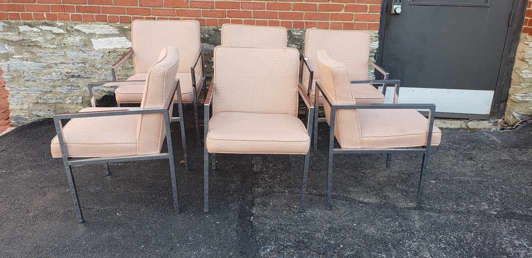Pink and Chrome Milo Baughman inspired dining chair set