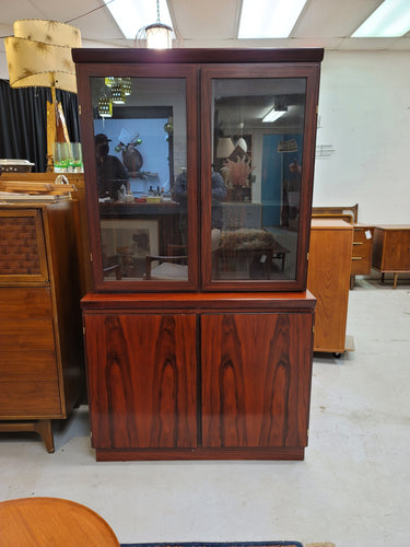 Rosewood Two-Piece Lighted China Hutch