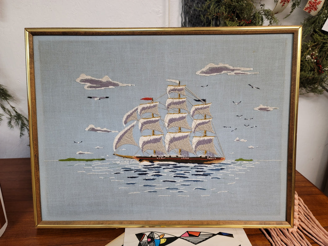 Vintage Needlework Ship