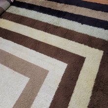 """Barry"" Brown, Black and Cream Room-Size 70s Vintage Shag Rug"
