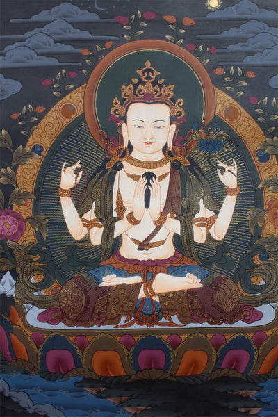 Tibetan god of Compassion Thangka