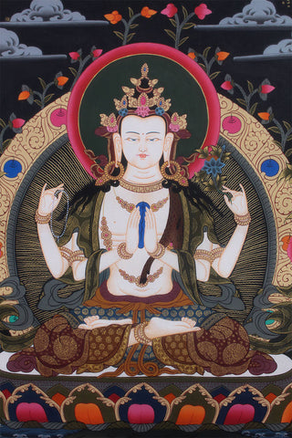 Avalokitesvara Compassion Deity Thangka Painting
