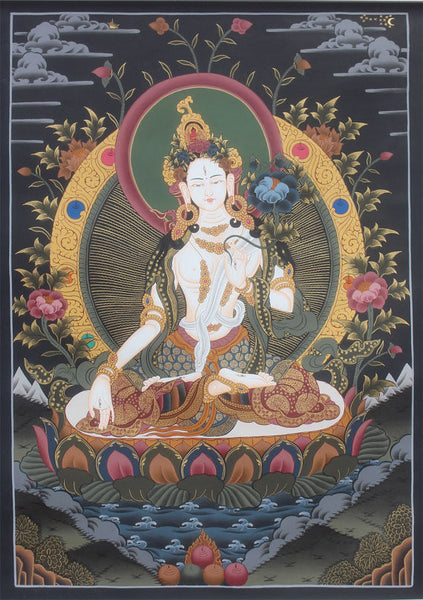 Tibetan White Tara Canvas Thangka Painting
