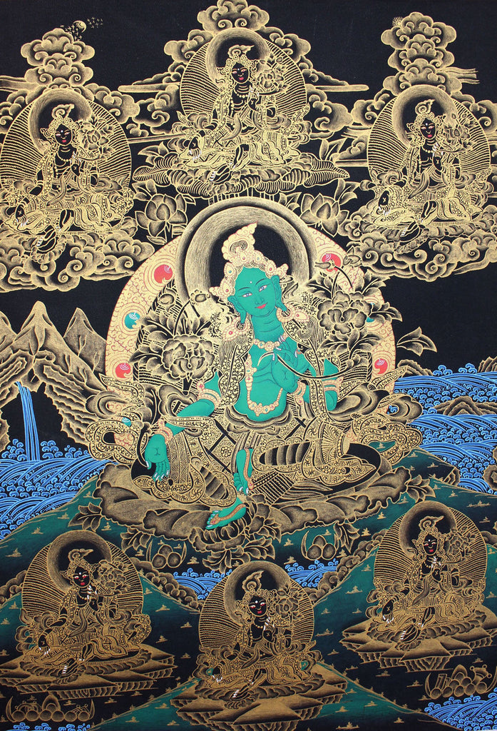 Green Tara Golden Thangka Painting