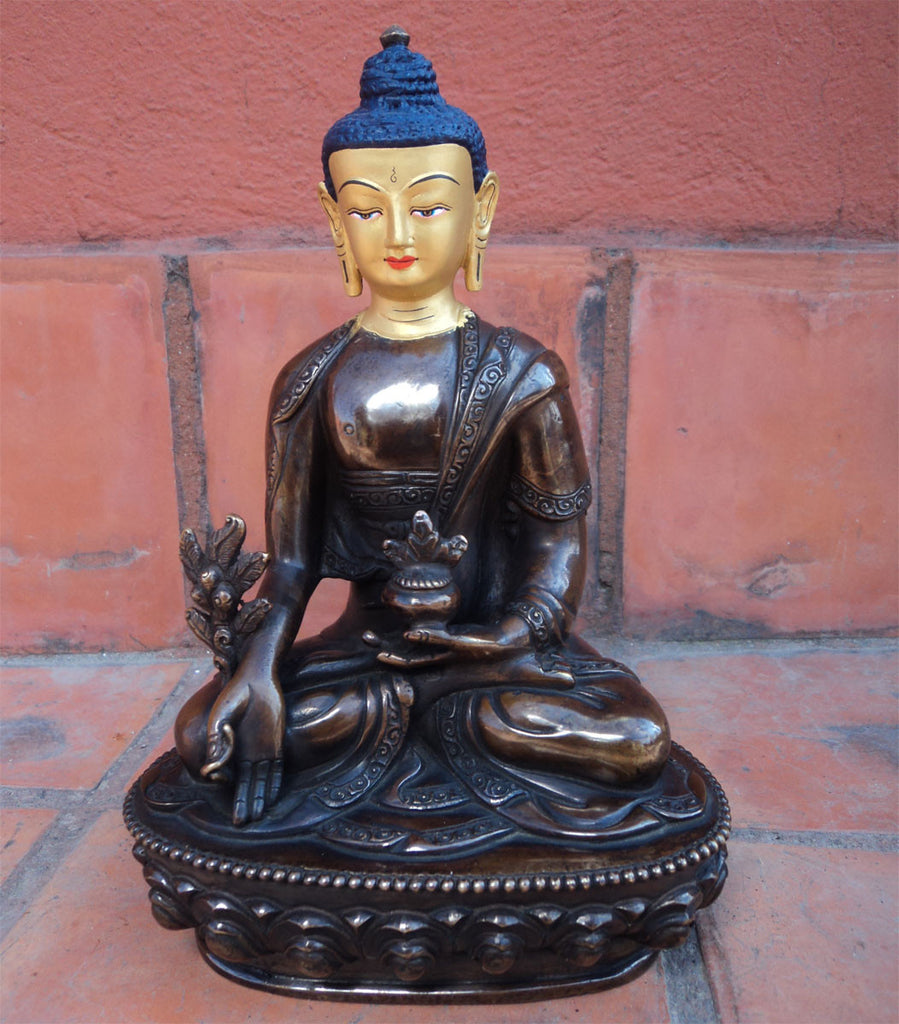 Gold Faced Healing Buddha Copper Statue