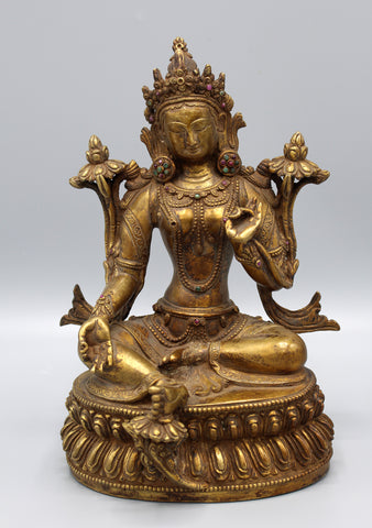 "15"" High Intricately Carved Majestic Statue of Green Tara"